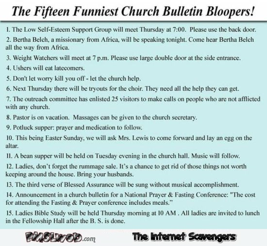 Funniest church bulletin bloopers @PMSLweb.com