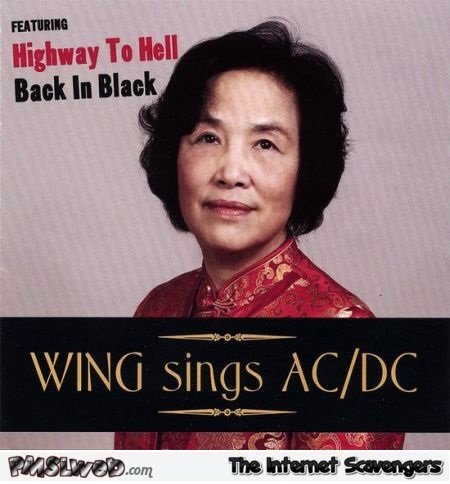 Wing sings ACDC funny album cover @PMSLweb.com