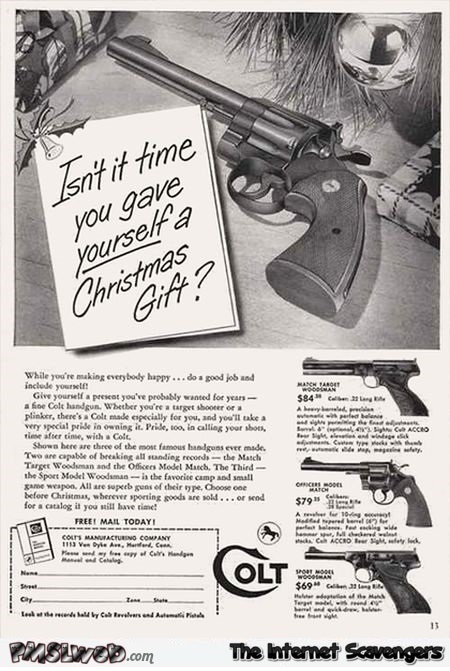 Gun for Christmas vintage advert fail @PMSLweb.com