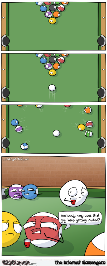 Funny pool game cartoon @PMSLweb.com