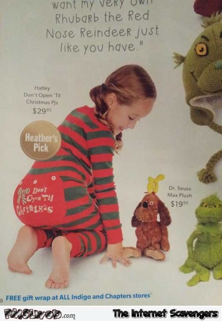 Funny kids Christmas pajamas fail @PMSLweb.com