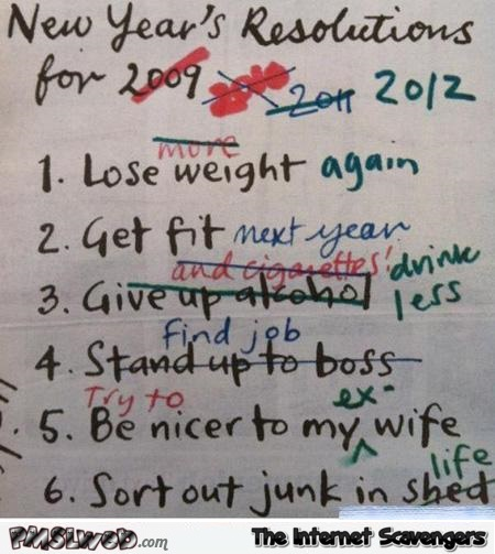 Funny new year resolutions list  - New year humor @PMSLweb.com