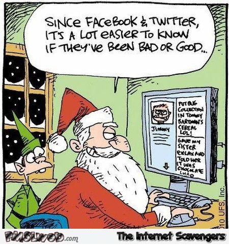 Santa on Facebook and Twitter funny cartoon @PMSLweb.com