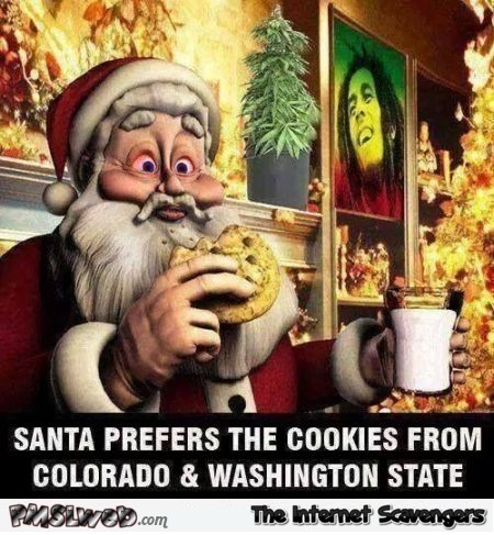 Santa prefers the cookies from Colorado and Washington State humor