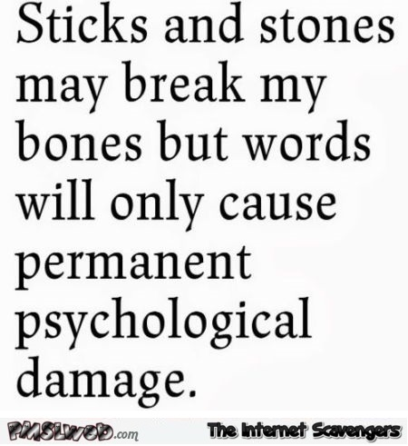 Sticks and stones sarcastic quote @PMSLweb.com