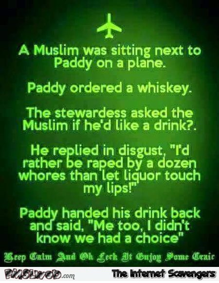 A muslim was sitting next to Paddy on the plane joke @PMSLweb.com