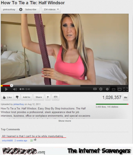 How to tie a tie funny Youtube comment @PMSLweb.com