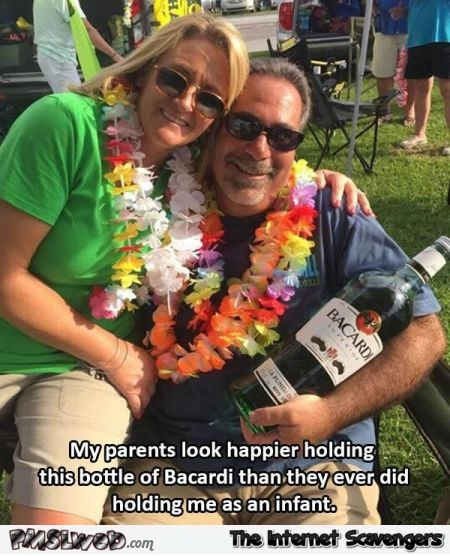 My parents look happier holding the Bacardi bottle humor @PMSLweb.com