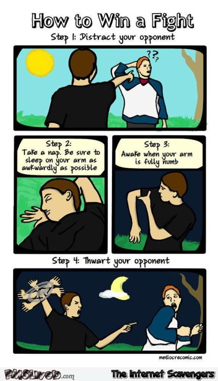 How to win a fight funny cartoon @PMSLweb.com