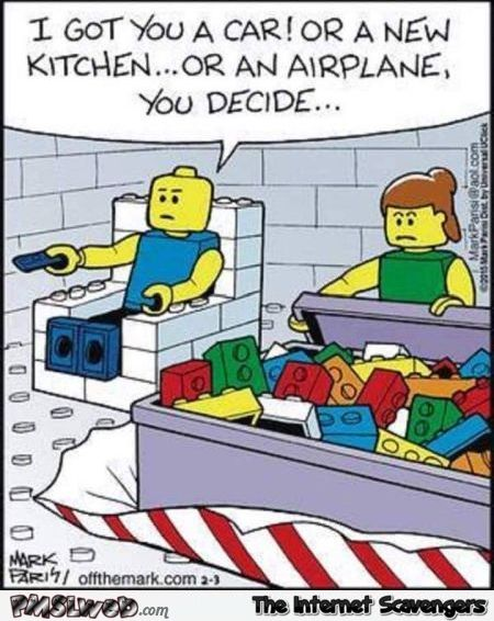 Lego couple joke funny cartoon @PMSLweb.com