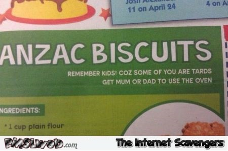 Funny Anzac biscuits instructions @PMSLweb.com