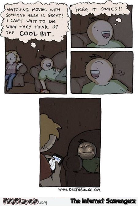 Watching a movie with someone else funny cartoon @PMSLweb.com