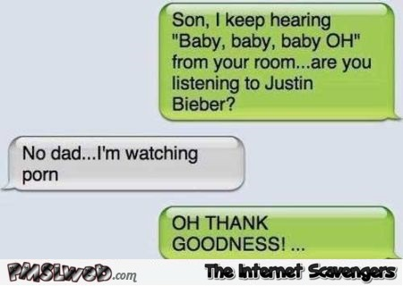Are you listening to Justin Bieber funny text message @PMSLweb.com