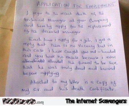 Funny application for employement @PMSLweb.com
