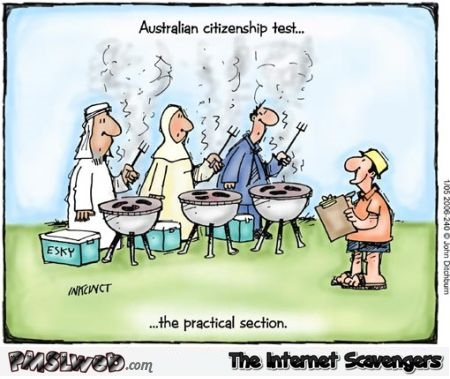 Australian citizenship test funny cartoon @PMSLweb.com