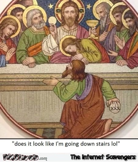 Funny Jesus going down stairs joke @PMSLweb.com