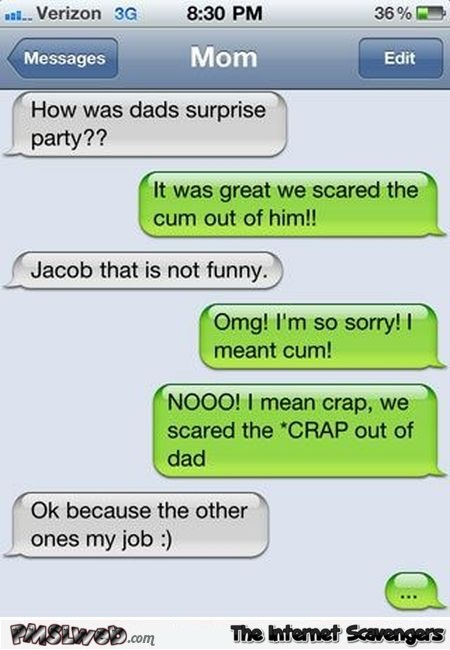 Dad's surprise party – Funny text messages @PMSLweb.com