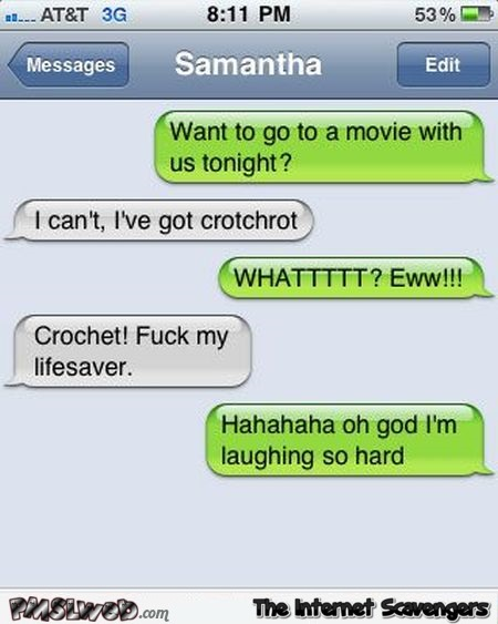Funny crochet text message fail | PMSLweb
