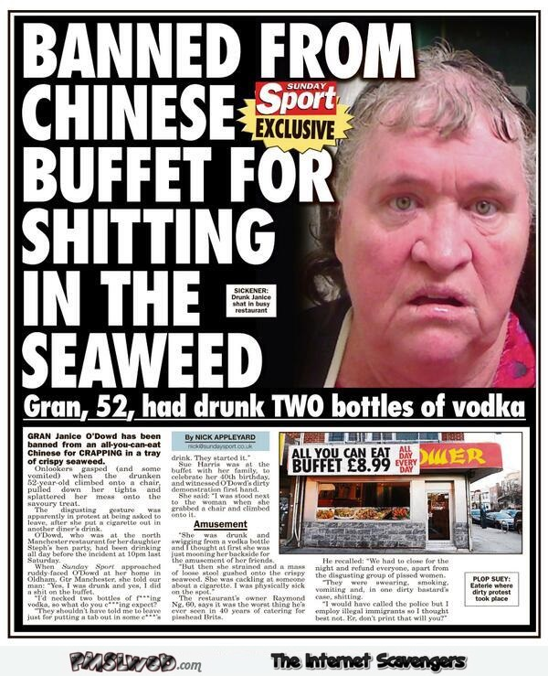 Banned from Chinese buffet funny news @PMSLweb.com