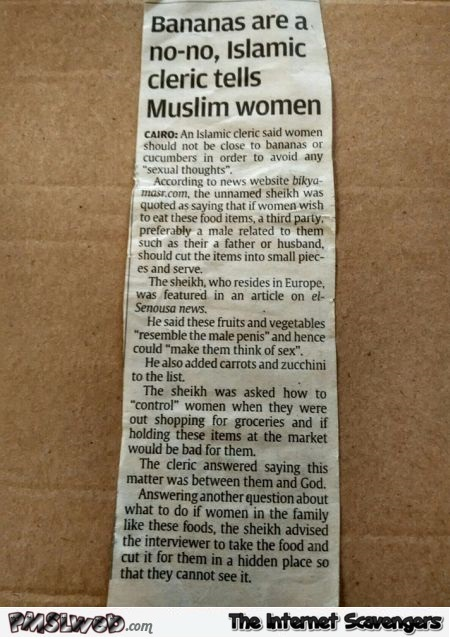 No bananas for Islamic women funny article @PMSLweb.com
