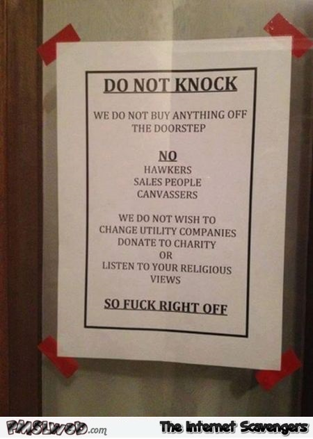 Funny do not knock sign @PMSLweb.com