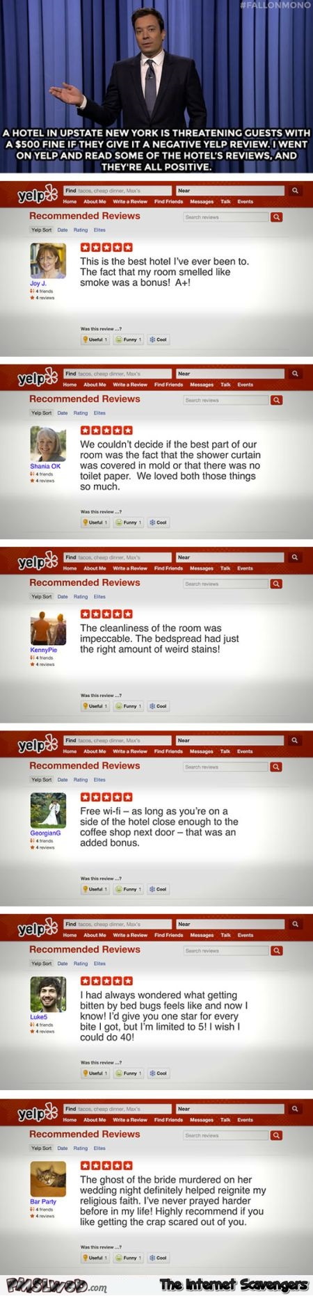 Hilarious hotel reviews @PMSLweb.com