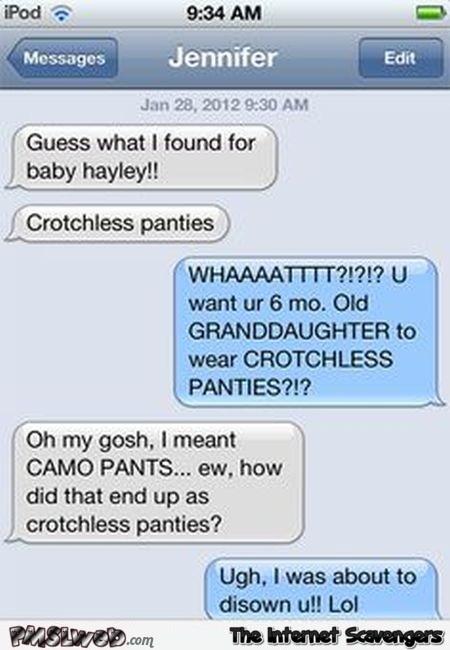 Crotchless panties text message fail @PMSLweb.com