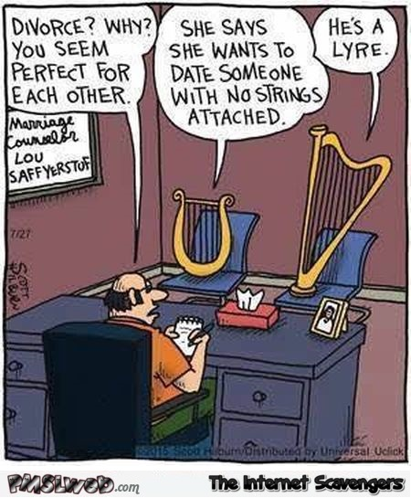 Musical instruments marriage counselor funny cartoon @PMSLweb.com