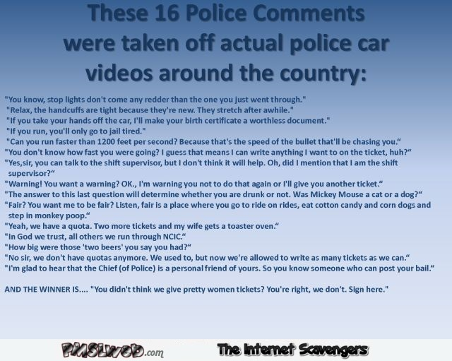 Funny police comments @PMSLweb.com