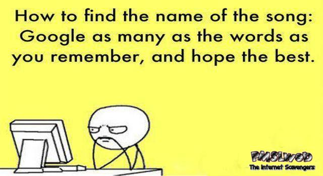 How to find the name of a song humor @PMSLweb.com