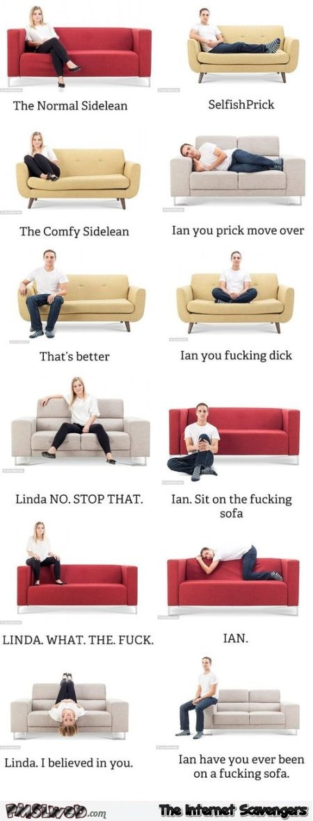 Funny positions on the sofa explained @PMSLweb.com