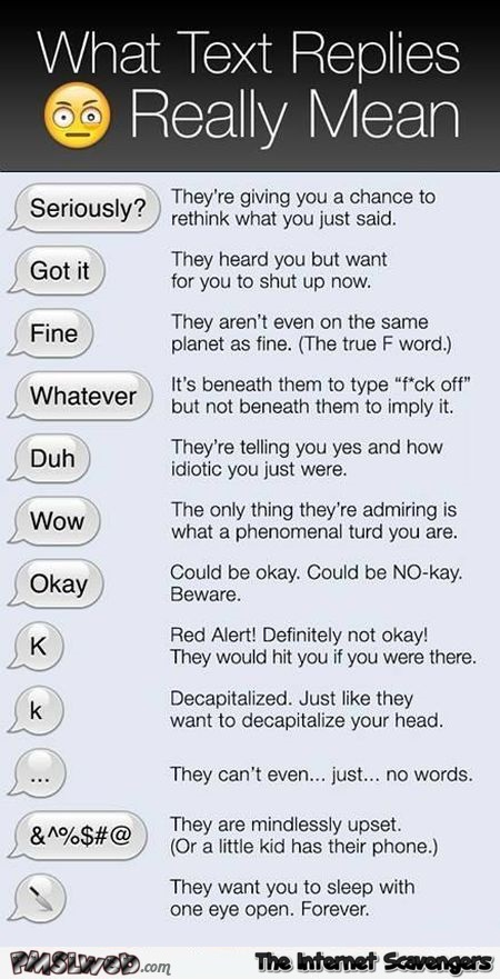 What text replies really mean humor – Saturday funnies @PMSLweb.com