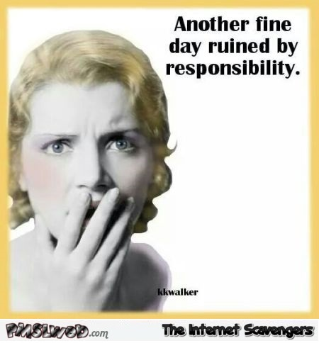 Funny day ruined by responsibility quote @PMSLweb.com