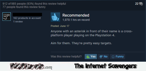 Funny cross platform player comment – Gaming humor @PMSLweb.com