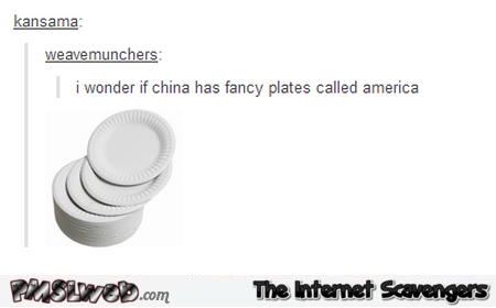 Does China have fancy plates called America humor @PMSLweb.com