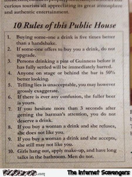 Funny public house rules | PMSLweb