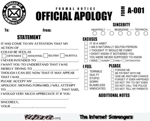 Funny official apology notice @PMSLweb.com