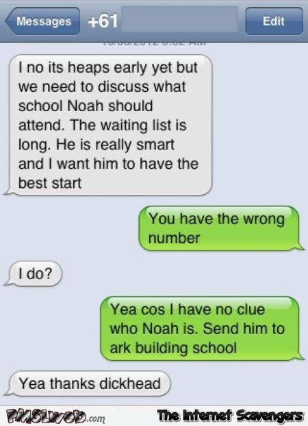 Funny Noah's ark text message @PMSLweb.com