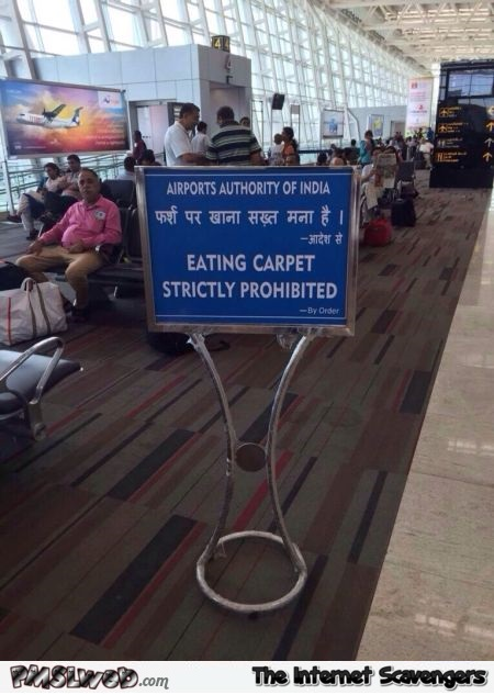 Funny Indian carpet warning sign fail