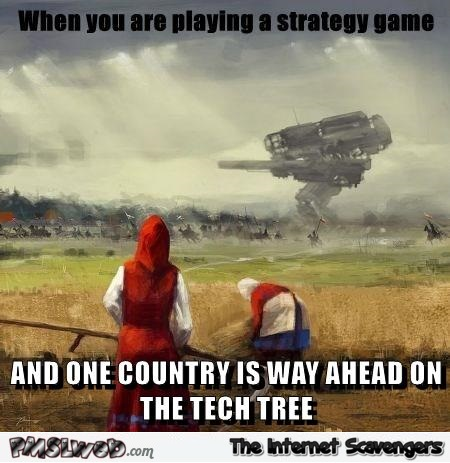 When one country is way ahead on the tech tree meme