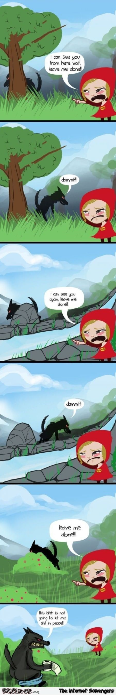 Funny sarcastic red riding hood cartoon @PMSLweb.com