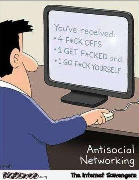 Funny antisocial networking cartoon @PMSLweb.com