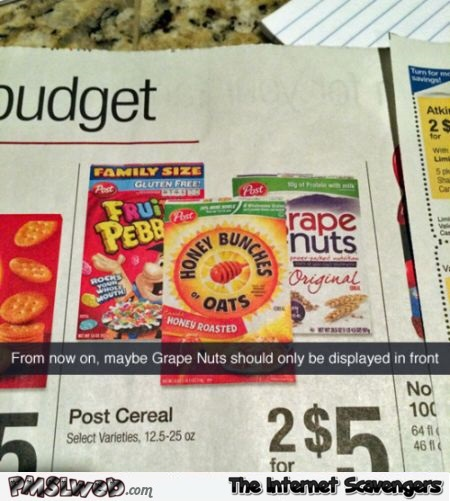 Funny grape nuts advertising fail @PMSLweb.com