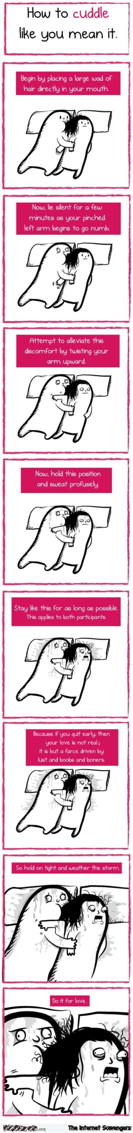 How to cuddle like you mean it funny cartoon @PMSLweb.com