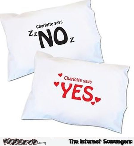 Yes/No funny wife pillow – Valentine's day humor @PMSLweb.com