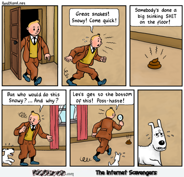 Funny fake Tintin comic strip @PMSLweb.com