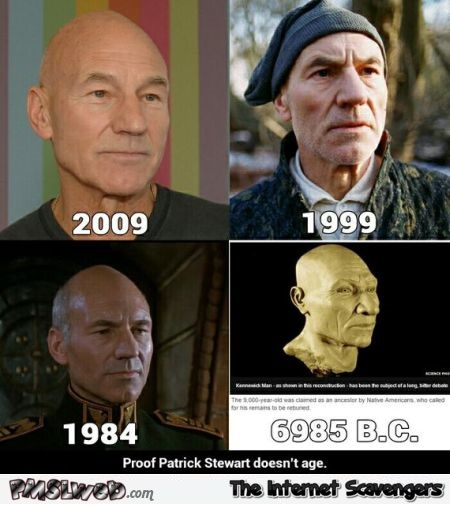 Patrick Stewart doesn't age humor – Wednesday funnies @PMSLweb.com