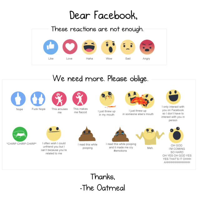 Funny new facebook emoticons by the oeatmeal @PMSLweb.com