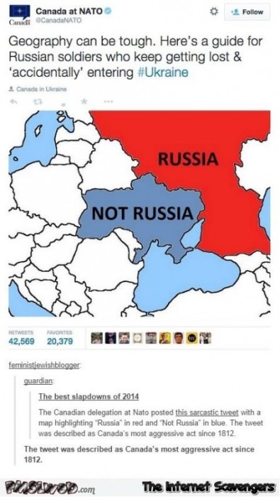 Funny map of Russia by Canada at NATO