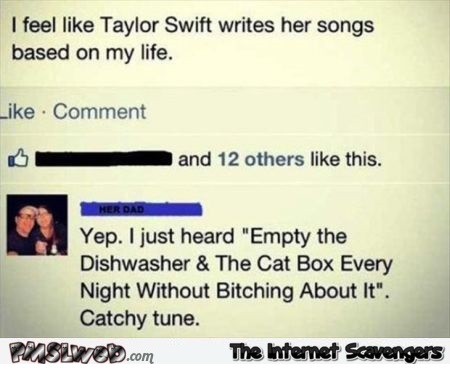 Taylor Swift writes her songs based on my life funny comment @PMSLweb.com